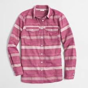 J.Crew Factory Pink Striped Flannel Shirt